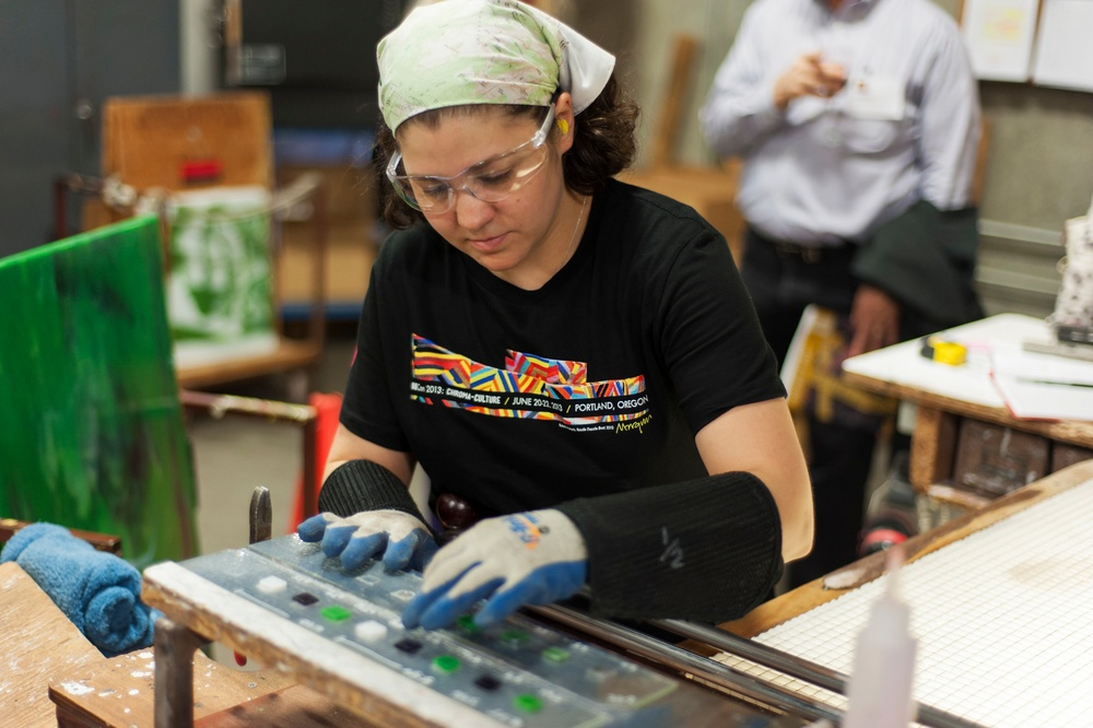Larisa Palmentere, Bullseye Glass Co. production magician and industry safety maven. Photo by Kenton Waltz.