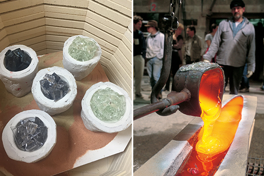 a kilncast piece begins cold and is heated to process temperatures, whereas a hot pour is molten glass poured into a mold