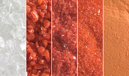 Bullseye manufactures these five different grades of frit: extra large, coarse, medium, fine, and powder