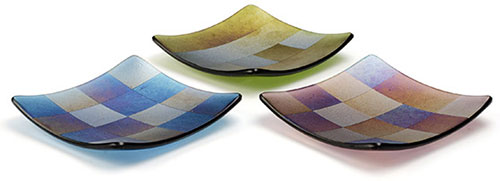 reconfigured rainbow iridescent glass slumped into plates