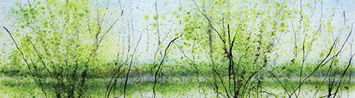 Angelita Surmon, Oak Island Reflections (detail), a landscape panel in glass