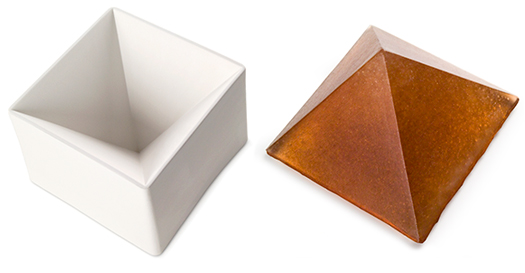 glass can be kilncasted into bullseye slumping molds, as in this pyramid mold